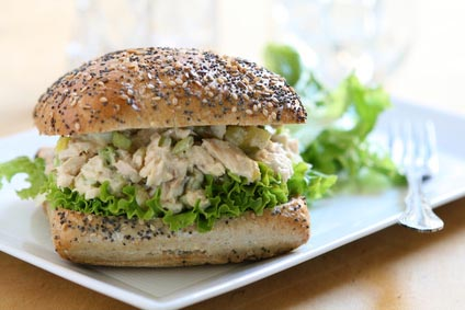 A tasty chicken salad sandwich.